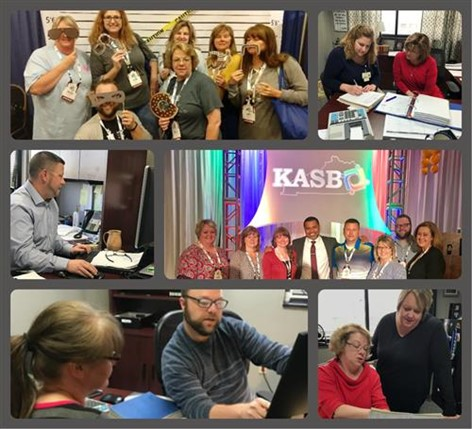 collage for the finance department, pictures in offices and at kasbo