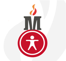 MCS logo with Accessibility circle with a flame behind.