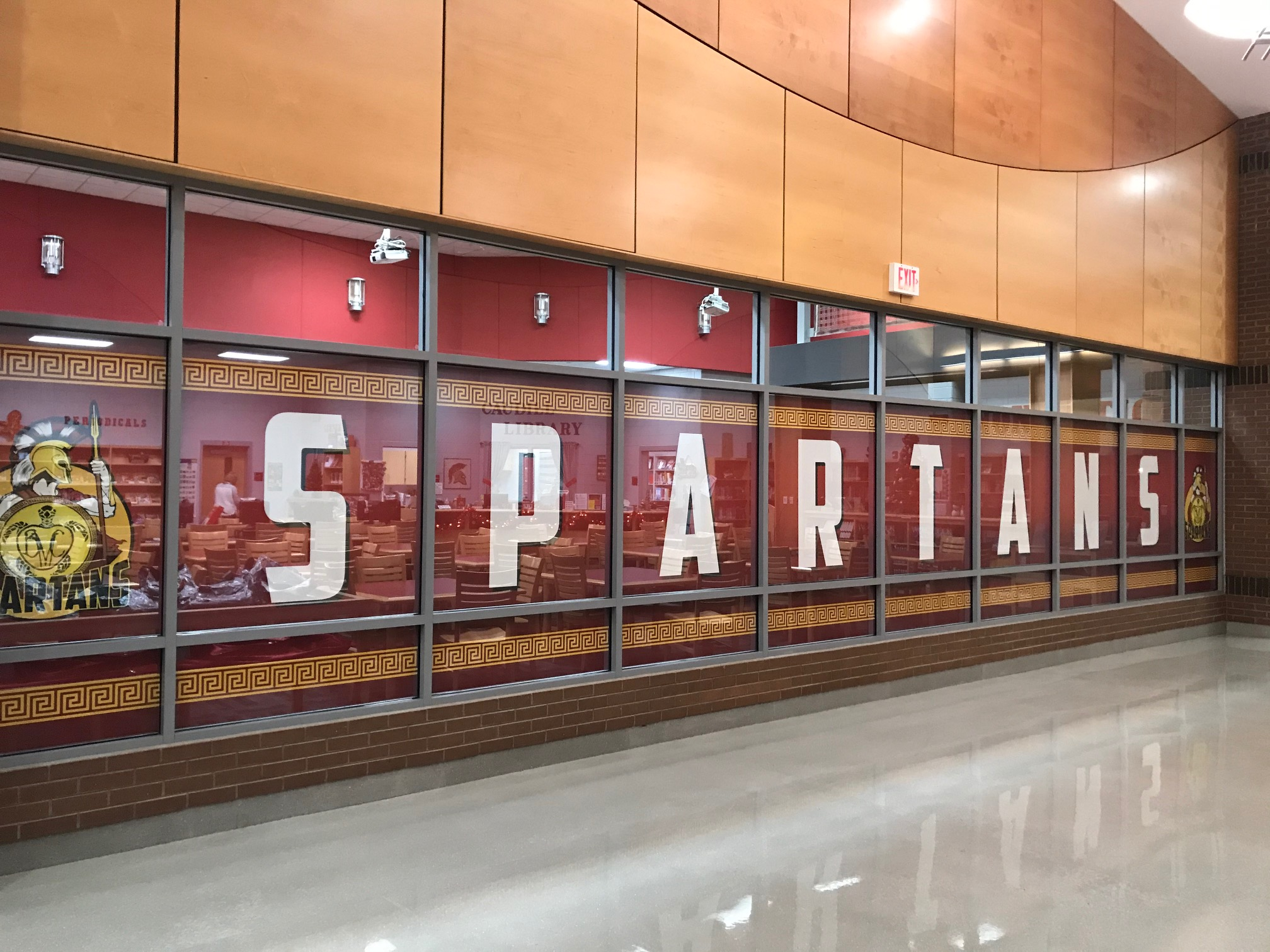 photo of Spartans written on hallway wall